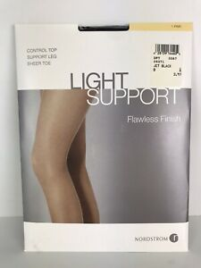Nordstrom Light Support Flawless Finish Control Top Jet Black Pantyhose Size B
