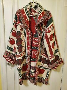 Vintage Its In The Bag, Edmond OK Womens Large Blanket Coat Long Tapestry Apples