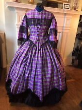 Civil War / Late 1850's Purple Plaid Silk Taffeta Dress with Ruffled Underskirt