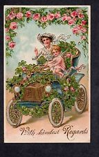 A158 Postcard Valentine woman driving with cupid embossed