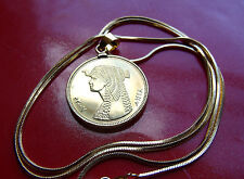 """Beautiful Egyptian Classic Cleopatra Pendant on a  24"""" Gold Filled Snake Chain"""