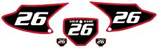 2003-2007 HONDA CRF150F Number Plate Backgrounds Black with Red Bold Pinstripe