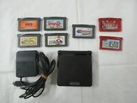 L293 Nintendo Gameboy Advance SP console Onyx Black & 7 game Adapter Japan GBA