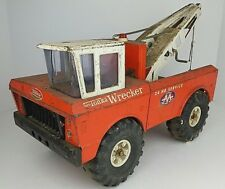 Vintage Mighty Tonka Wrecker Tow Truck 24 Hr Service Double Boom Banged Up Rusty