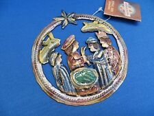 CHRISTMAS HOLIDAY HAMMERED TIN NATIVITY MANGER ORNAMENT FROM HAITI FAIR TRADE A