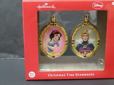 Hallmark Snow White & wicked queen blown glass christmas ornaments set 2 new