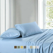Attached Waterbed Sheet Set Egyptian Cotton 1000 TC All Size Light Blue Stripe