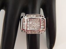 14k White Gold Men's Designer Princess Diamond Cluster Ring Large 2.24 tcw G/VS