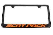 Charger Challenger SCAT PACK Satin Black License Plate Frame - Orange Engraved