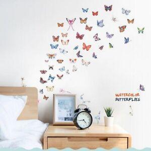 Sticker Wandaufkleber Wandtattoo 45 Schmetterlinge Blumen Aquarellfarben
