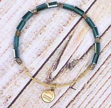 Alex and Ani Beaded Green Gold Bracelet RARE