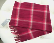 NWT Fraas Germany Burgundy Coral 100% Cashmere Plaid Holiday Scarf New $78.00