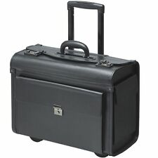Pilot Case trolley  wheeled faux  leather black   XL with notebookcompartment