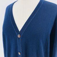 Alan Flusser Womens M Merino Wool Cardigan Blue Textured Long Sweater
