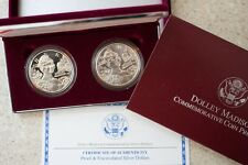 1999 Dolley Madison 2 Coin Proof & BU 90% Silver Dollars US Mint Commemorative