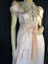 vintage Silk brocade Tearose pink Peignoir robe 30s pinup SS lace Frog S sissy