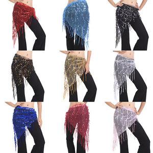 Belly Dance Hip Skirt Scarf Wrap Gem Waist Belt Beads Sequin Tassles Scarf  D Tw