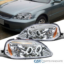 Fit 99-00 Honda Civic 2/3/4Dr Clear LED Halo Projector Headlights Left+Right