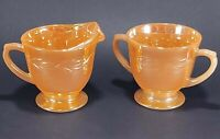 Fire King Peach Luster Laurel Creamer and Sugar