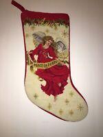 Needlepoint Christmas Stocking Angel Red Velvet Peace Earth Anna