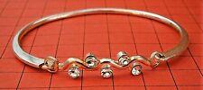 G970*) Vintage silver tone diamante rhinestone clip on Bracelet Bangle