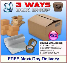 20x 18x12x12 House Removal Pack Double Wall Cardboard Boxes - Bubble & Tape