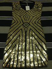 NEW SACRED SEVEN BLACK/GOLD FERN SEQUIN BODYCON DRESS SIZE 6-8