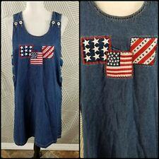 Patriotic USA Denim/Jean Jumper Dress size Medium embroidered Flag Overall