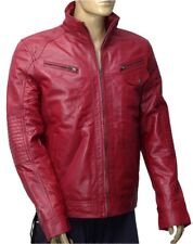 New Men's 100% Real Leather Motorbike/Motorcycle/Maroon color JACKET Size-L -12