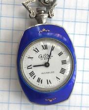 Vintage Celval Swiss Pendant Watch Sterling Silver 925 Gold Enamel 17 Jewels