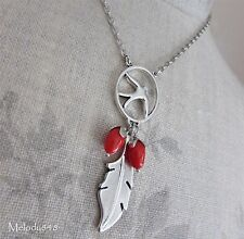 PILGRIM Necklace BIRDS Swallow Dream Feather Charm Vintage Silver & Red BNWT