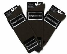 3 Pair of Biagio Solid CHOCOLATE BROWN Color Mens COTTON Dress SOCKS