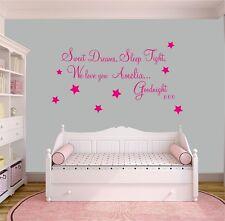 SWEET DREAMS SLEEP TIGHT Personalised two Names GIRLS Bedroom Wall Art Stickers