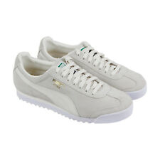 c1df79cdc217 Puma Roma Suede Mens White Suede Low Top Lace Up Sneakers Shoes
