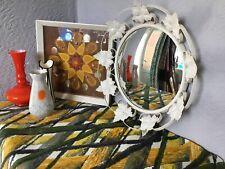 Fabulous Mid Century Vintage Ornate Kitsch Metal Mirror-Convex Glass #5552