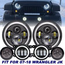 """For Jeep Wrangler JK 07-17 7"""" Halo LED Headlight Fog Light Turn Lights Combo Kit"""