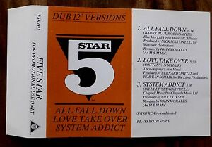 """Five Star Hits Dub 12"""" Promo Cassette System Addict All Fall Down Love Take Over"""