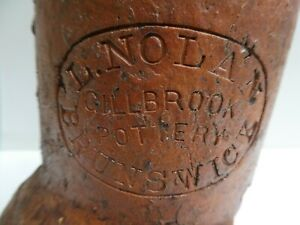ANTIQUE AUSTRALIAN COLONIAL LUKE NOLAN GILLBROOK POTTERY STAMPED PIPE - HOFFMANS