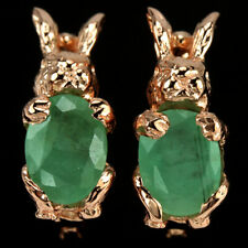 NATURAL AAA GREEN EMERALD OVAL STERLING 925 SILVER RABBIT EARRING