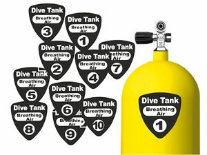 Identification Labels Numbering Stickers Scuba Dive Tanks Breathing Air Nitrox