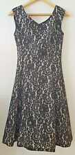 Lovely Ladies Phase Eight Dress size UK 8 Black layered lace mesh net look