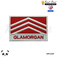 GLAMORGAN Wales County Flag With Name Embroidered Iron On Sew On Patch Badge