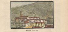 Stampa antica PONTIDA Panorama Bergamo 1891 Old antique print