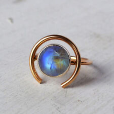 AAA Rainbow Moonstone 14K Solid Yellow Gold Circle Orb Ring Size 7, Free Sizing