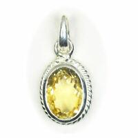 Echter Gelb Citrin 925 Sterling Silber 5 Karat Edelstein Anhanger Charm Schmuck