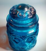 LE Smith Moon and Stars Blue Tea Canister w Orig Lid, Apothecary Jar 5.5 inch