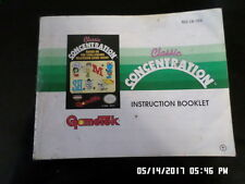 Classic Concentration (NES Nintendo) Instruction Manual Only.. NO GAME