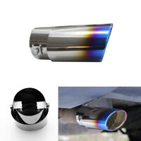 Universal Car Stainless Steel Exhaust Tail Muffler Tip Pipe Chrome Silver & Blue