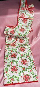 NWT Vintage  Smock Apron w/ Pocket | Red Trimmed Floral Print