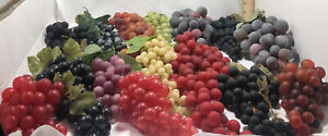 15 Bunches Of Vintage Artificial Faux Rubber Grapes Multicolored All Sizes